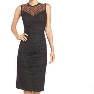 NWT Shoshanna Ruched Polka Dot Midi Dress